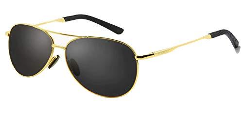 WHCREAT Klassisch Unisex Polarisierte Sonnenbrille mit Ultraleicht Verstellbaren Metallrahmen HD-Linse für Herren und Damen - Gold Rahmen Schwarz Linse