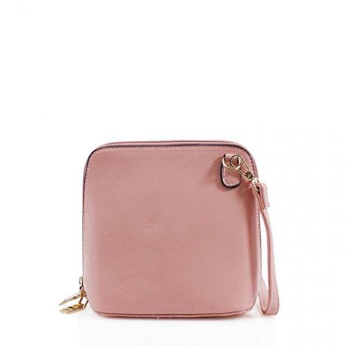 LeahWard Faux Leder Kreuz Körper Handtaschen Umhängetasche für Frauen Across Body Taschen CW16 (Schwarz Kleine Tasche) Pink Kleine Tasche