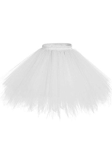 DYSS Damen 1950er Jahre Knielanger Petticoat Vintage Krinoline Tüll Ballett-Blase Tutu Rock (Weiß, S/M) (Falte Saum Rock)