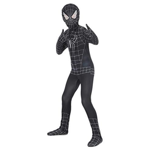rz Venom Spider-Man SuperSkin Kostüm - Kinder Zentai Tier Cosplay Film Outfit Halloween Kleidung Lycra Spandex Cosplay Kostüm,Black,L ()