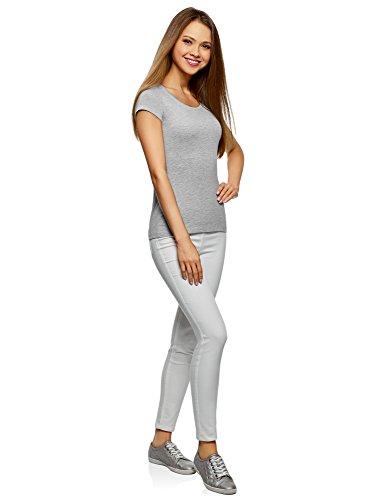 oodji Ultra Donna T-Shirt Basic con Taglio a Goccia sul Retro Grigio (2000M)