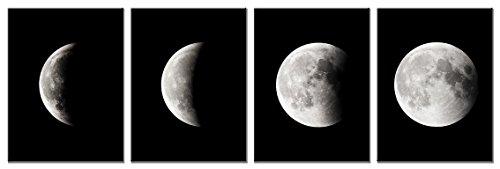 Wieco Art Giclée-Kunstdruck auf Leinwand, Motiv: Mond, groß, modern, abstrakte Weltraum-Bilder; gespannt und gerahmt auf Leinwand, fertig zum Aufhängen für Wohnzimmer, Schlafzimmer, Heimbüro, Dekorationen, schwarz / weiß, 12x16inchx4pcs (30x40cmx4pcs)