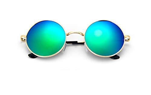 CHICNET Hochwertige Damen Herren Sonnenbrille Rundglas Hippie John-Lennon Brille 400UV rund, runde Gläser, langer Steg, aus Metall und Acryl, verspiegelt und getönt (blau grün)
