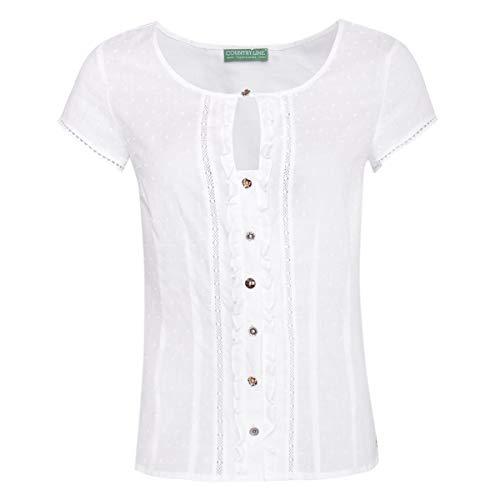 Country-Line Damen Trachten-Mode Trachtenshirt Annerl in Weiß traditionell, Größe:32, Farbe:Weiß