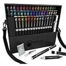 Camaleón Juego de bolígrafos bolígrafo 52Super con Bonus caso, puntas y pinzas y Lori de arte jardín: Póster para colorear libro