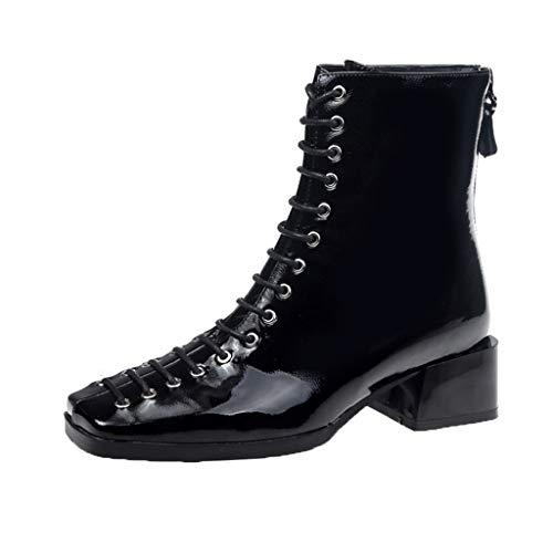 Damen Stiefeletten Kolylong® Frauen Elegant Schnüren Stiefel mit Blockabsatz Quadratischer Kopf Mode Kurz Stiefel PU Leder Freizeitstiefel mit Reißverschluss Schnür-Stiefelette