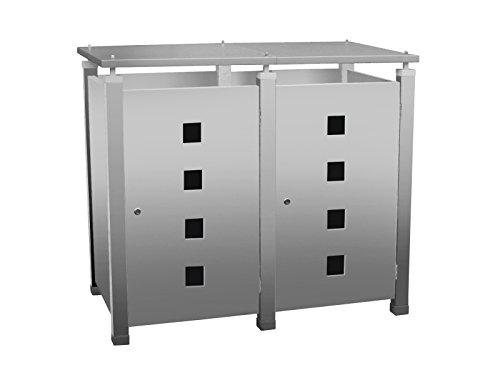 Mülltonnenbox Modell Pacco E Quad4 für zwei 120 ltr. Tonnen in Edelstahloptik