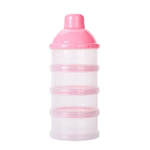 Zhen+ Milchpulver Box, 1 | 2 | 4 | Stück 4 Schichten Portabel Säugling Milchpulver Box, Babynahrung Milchpulverspender Milch-Box Herausnehmbare Tragbare Milch-Box für Reise im Freien (Rosa, 1pc) (Milchpulver-box)
