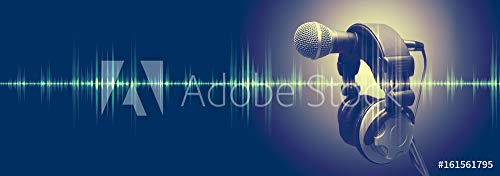 druck-shop24 Wunschmotiv: Studio Microphone and Sound Waves.Sound Engineering and Karaoke Background.Music and Radio Concept Banner #161561795 - Bild auf Leinwand - 3:2-60 x 40 cm / 40 x 60 cm - Karaoke-banner