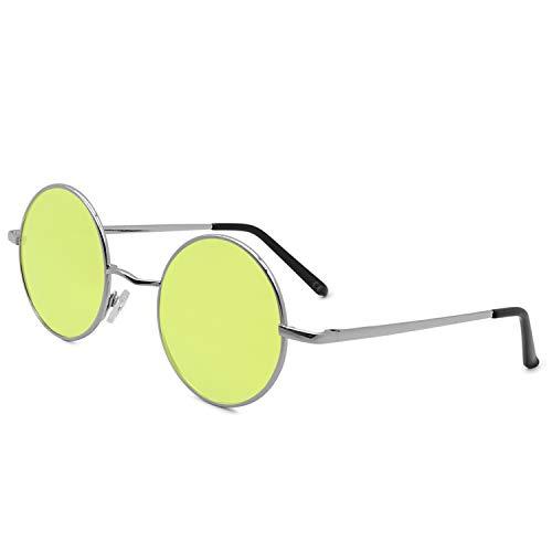 AMZTM Runde Sonnenbrille Retro Klassisch Vintage Mode Metallrahmen Klein Kreis Polarisierte Damen Herren Verspiegelt Fahren Brillen UV 400 Schutz (Silber Rahmen Gelb Linse, 46)