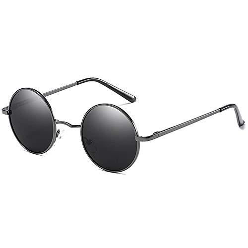 Runden Polarisierten Metall UV-Schutz Sonnenbrille Schwarze Linse Silber/Schwarz/Pistole Rahmen Männer Und Frauen Mit Der Gleichen Sonnenbrille Zeige Temperament ()
