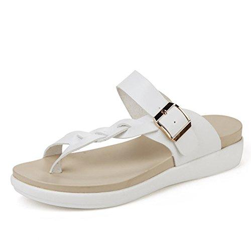 Minetom Damen Sommer Atmungsaktiv Flechten Sandalen T-Strap Slippers Flip Flops Rutschfest Flache Schuhe Zehentrenner Strand Rot EU 42 9SihNDi