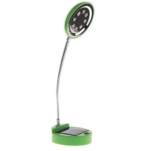 MagiDeal Flexible 8 LED LED Solar Schreibtischleuchte Nachtlichter, 2 Ladearten: Solarbetrieben / USB-Ladegerät - Grün