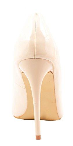 Elara Spitze Pumps | Moderne High Heels | Bequeme Lack Stilettos Beige Paris