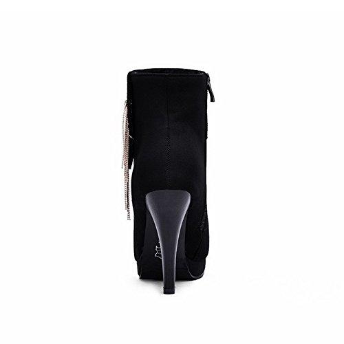 Dépolissement Noir Haut Talon Mosaïque Bas Zip Bottes Femme à VogueZone009 Haut TUv5xq