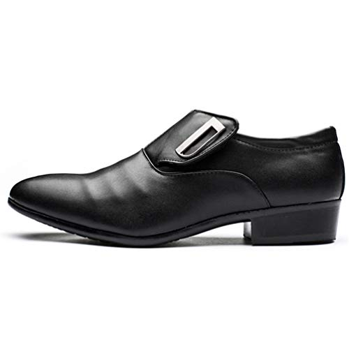 XIGUAFR Chaussure en Cuir Pointue Souple au Loisir pour Homme sans Lacet Basse Soulier Chaussure de Travail d'affaire Commercial Plate