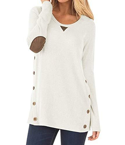 Leezepro Damen Langarm Rundhalsausschnitt Sweatshirt T Shirt Weit Tunika Damen Pullover Langarmshirts Damen Mode Herbst Winter (L, Weiß)