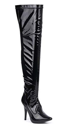 Herren Schwarz Overknee-Stiefel Schenkel-Hoch Sexy Stiletto-Absatz Erotische Fetisch-Stiefel, Verschiedene Designs , Mehrfarbig - Black Full Side Zip - Größe: 42 EU