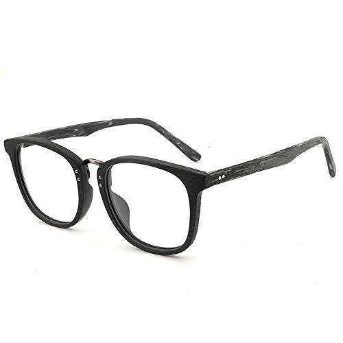 Herren Sonnenbrillen Großen Rahmen Holzmaserung Brillengestell Retro Brillengestell Handgefertigte Mode Flachglasrahmen LTJHJD (Color : 03Schwarz, Size : Kostenlos)