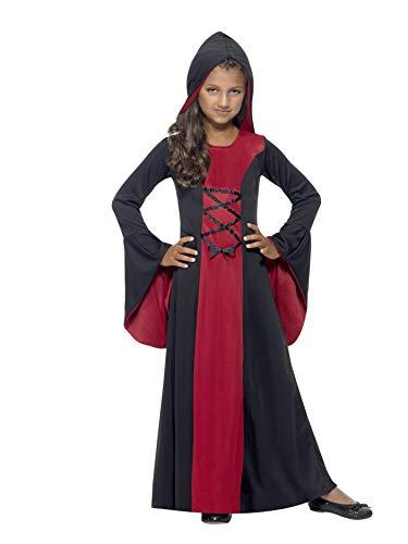 Smiffys, Kinder Mädchen Vampir Kostüm, Kapuzen Robe, Größe: M, 43031 (Halloween Kostüme Für Große Kinder)