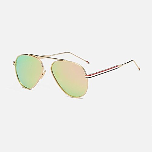 MWPO Polarisierte Sonnenbrille New Metal klassischen bunten großen Rahmen Mode Fahren Anti-Glare Outdoor-Brille (Farbe: Gold Rahmen lila rosa linse)