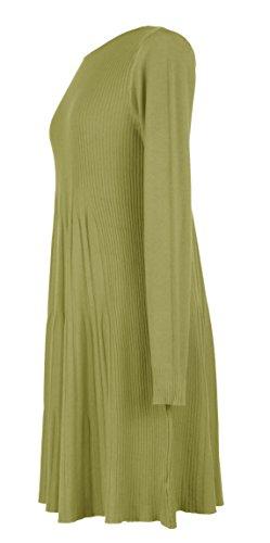 Mesdames Womens Lagenlook manches longues excentrique striées modèle Swing tricot Tunique robe hiver taille UK 8-16 Vert Citron