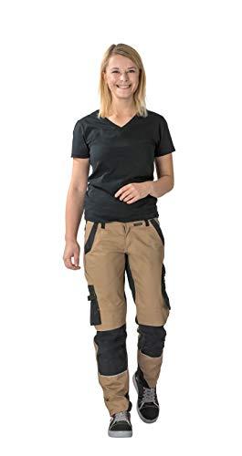 Planam Norit Damen Bundhose, Farbe: Sand/Schwarz, Größe: 42