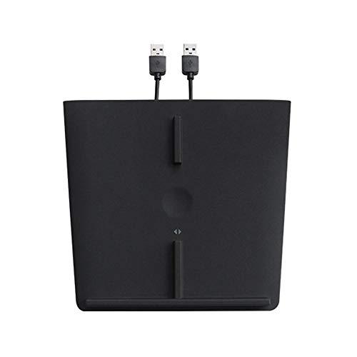 Hamkaw Schnellladegerät für Tesla Modell 3, Kfz-Mittelkonsole, Dual-Lade-Pad für Qi-Aktiv-Handy, 10 W, schnelles Aufladen, Zubehör mit USB-Splitterkabel [aktualisiert] Schwarz