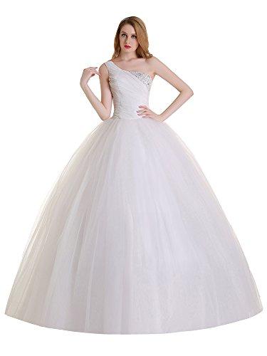 Austen – 3866 One Shoulder Brautkleid mit Rückenschnürung Weiß Gr.46 (Weiß One Perlen Shoulder)