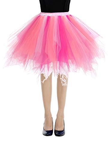 bbonlinedress Kurz Retro Petticoat Rock Ballett Blase 50er Tutu Unterrock Coral-Pink-Rose XL