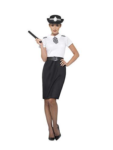 (Smiffys 45506L - Damen Britisches Polizei Kostüm, Kleid, Hut, Gürtel und Schlagstock, Größe: 44-46, schwarz)