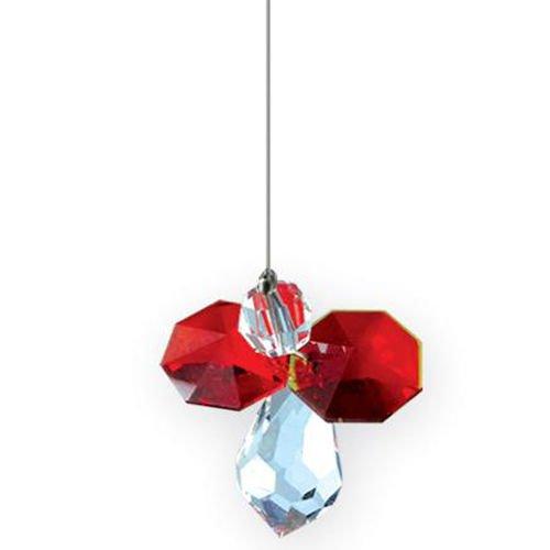 Wild things july acchiappasole da appendere, con cristalli swarovski, a forma di angelo custode con pietra portafortuna, colore: rosso rubino