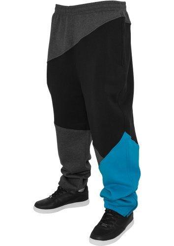 Urban Classics Herren Jogginghose Zig Zag Sweatpants TB286 Urban Fit Farbe: charcol/black/turquoise Groesse: XL