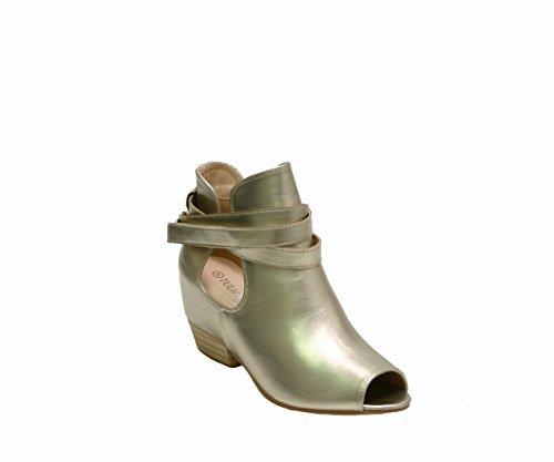 JustGlam - Scarpe donna stivaletto in ecopelle open toe con tacchetto a blocco e zeppa interna / oro 39