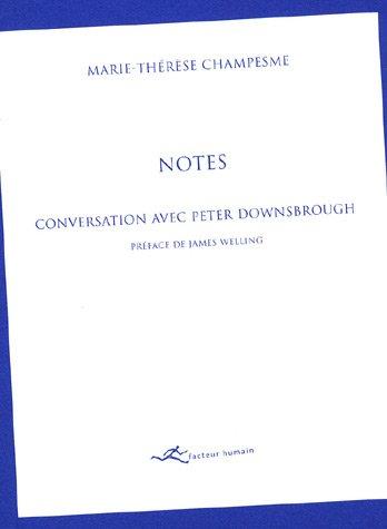 Notes : conversation avec Peter Downsbrough