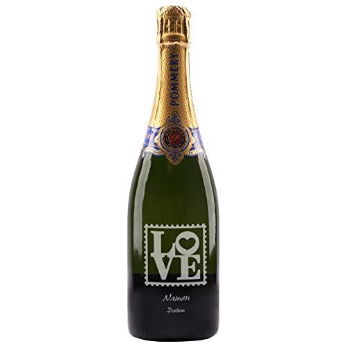 Herz & Heim® Pommery Brut Royal Champagner (1 x 0.75 l) mit Gravur zur Hochzeit - Motiv LOVE und silberner Veredelung (Silberne Pom Poms)