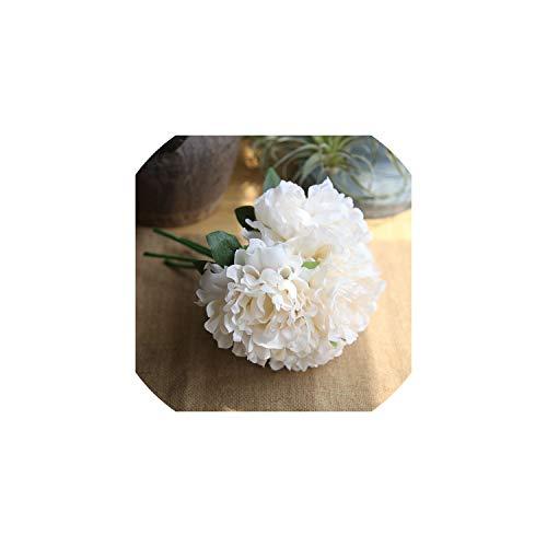 Künstliche Blumen 5 Köpfe/Bouquet Artificial Peony Bunch Silk Blumen DIY Brautblumenstrauß für Hochzeit Dekoration, Gelb - Kopf-tisch-mittelstücke