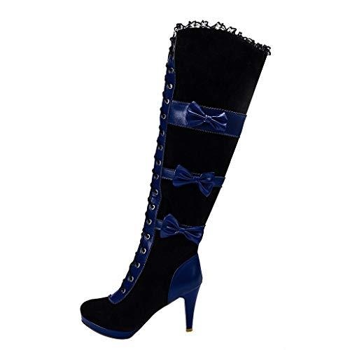 ⚡Makefortune⚡Damen Damen 5cm High Heel Schnürstiefel Kalb Knie Military Combat Biker Stiefel Gothic Style Größe 3-8 UK