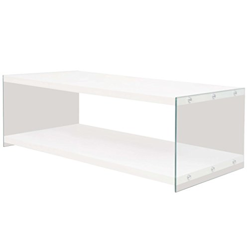 binzhoueushopping Table Basse avec étagère en MDF Verre très Brillant Design Simple Dimensions 120 x 58 x 42 cm (L x l x H) Table Basse Design Blanc