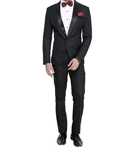 MANQ Men's Slim Fit Tuxedo Suit (Pack of 2) Black