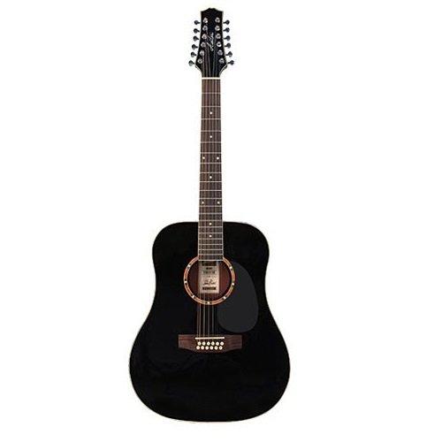 Ashton D25/12BK Acoustic Gitarre (12-String),  schwarz (Rechtshändig)