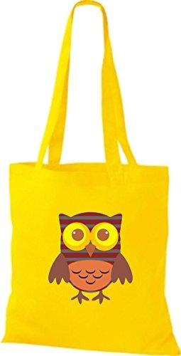 ShirtInStyle Jute Stoffbeutel Bunte Eule niedliche Tragetasche mit Punkte Karos streifen Owl Retro diverse Farbe, natur gelb