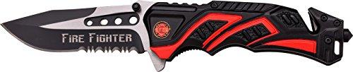 MTech USA Taschenmesser MT-A865 Serie, Messer DESIGNER ALU BLACK/ ROT Griff, scharfes Jagdmesser, Outdoormesser 8,89 cm ROSTFREI Klinge Halbgezahnt, Klappmesser für  Angeln/ Jagd - Taschenmesser Firefighter