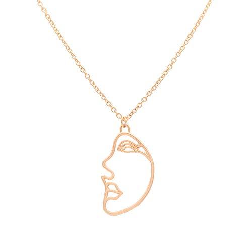 DIAOXZHUI Silber Halskette für Frauen Gold und Silber Zweifarbige Legierung Gesicht Halskette, Gold n4441 - Vintage Juwel Hals