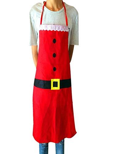 Leey Grembiule su misura per il grembiule regolabile da cuoco creativo bavaglino di Babbo Natale (ROSSO)