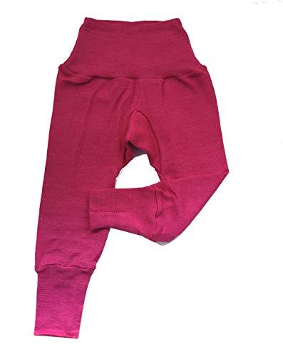 Cosilana Baby Hose lang mit Bund, 70% Wolle 30% Seide (Uni Pink, 62/68) - Seide Pumphose