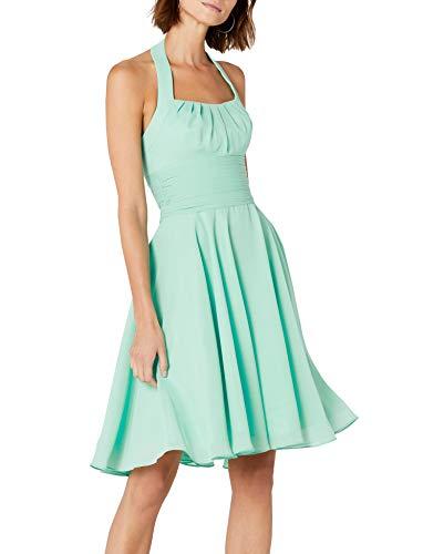 Astrapahl Damen Cocktail Kleid Neckholder, Knielang, Einfarbig, Gr. 38, Grün (Mint) - Für Grün-kleid Mint Frauen