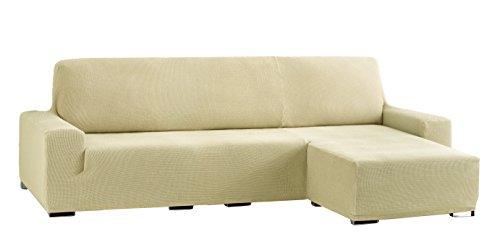 Eysa Cora Bi-Élastique Chaise Longue Bras Court Droite, Vue frontale, Polyester Coton, Beige, 39x35x19 cm