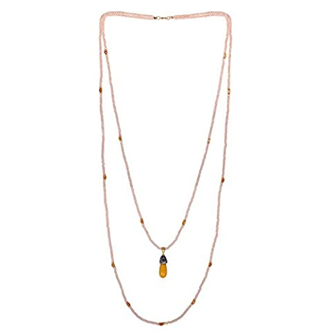 KELITCH 2 Strand Collier Jaune Faceted Cristal L Beaded double Layer Chain avec Jaune Agate Pendant