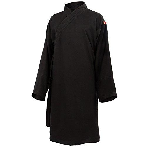 Baumwolle (Leicht) Tai Chi Oberteil diagonaler Kragen Knielang - Taiji Shirt - Tai Chi Anzug - Kung Fu - Wushu - Schwarz - 190 (Herren Anzüge Leichte)